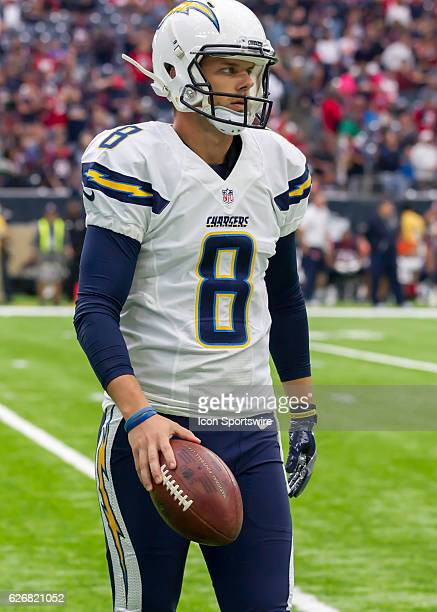 San Diego Chargers punter Drew Kaser wars up during the NFL game between the San Diego Chargers and Houston Texans on November 27 at NRG Stadium in...