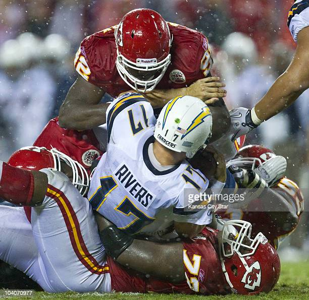 San Diego Chargers quarterback Philip Rivers is sacked in the second quarter by the Kansas City Chiefs at Arrowhead Stadium in Kansas City, Missouri,...