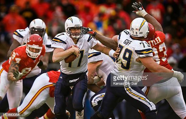 San Diego Chargers quarterback Philip Rivers took off scrambling in the fourth quarter past the tackle attempt of Kansas City Chiefs defensive tackle...
