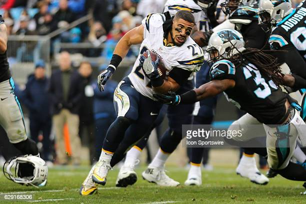 San Diego Chargers running back Kenneth Farrow runs after losing his helmet during the second half between the Carolina Panthers and the San Diego...