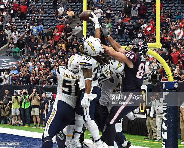 San Diego Chargers Running Back Kenneth Farrow taps away the Hail Mary pass during the NFL Football game between the San Diego Chargers and the...
