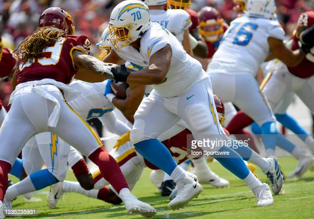San Diego Chargers tackle Rashawn Slater blocks during the San Diego Chargers vs. Washington Football Team NFL game at FedEx Field on September 12,...