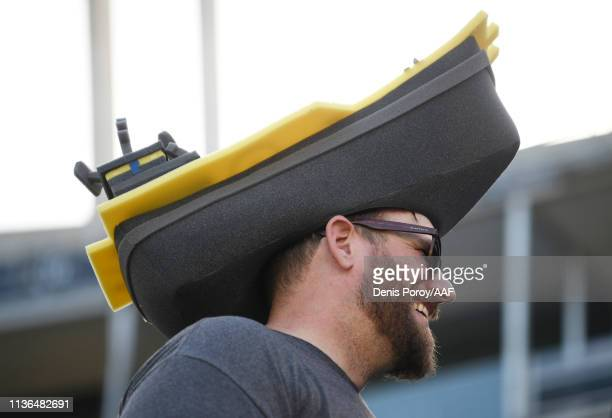 San Diego Fleet fan reacts during an Alliance of American Football game between the Birmingham Iron and the San Diego Fleet at SDCCU Stadium on March...