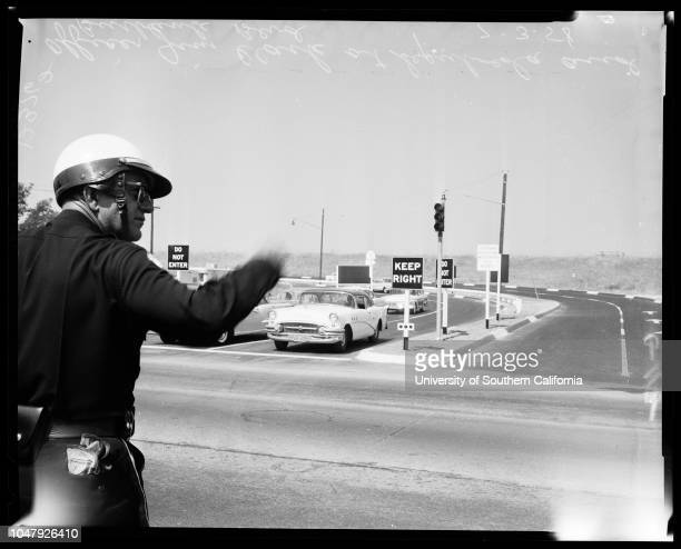 San Diego Freeway 3 July 1958 Looking South at Ventura cuttoffLooking North on San Diego FreeayOfficer Jim Clark at Sepulveda and Burbank...