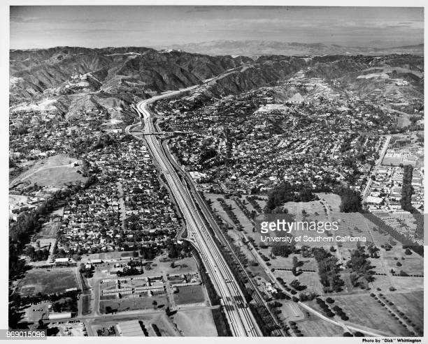 San Diego Freeway north from Wilshire Boulevard Los Angeles California early to mid twentieth century