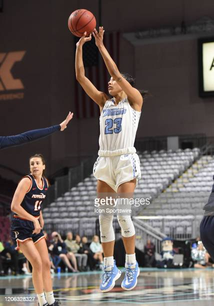 San Diego guard Jordyn Edwards takes a shot during the women's West Coast Conference game between the Pepperdine Waves and the San Diego Toreros on...
