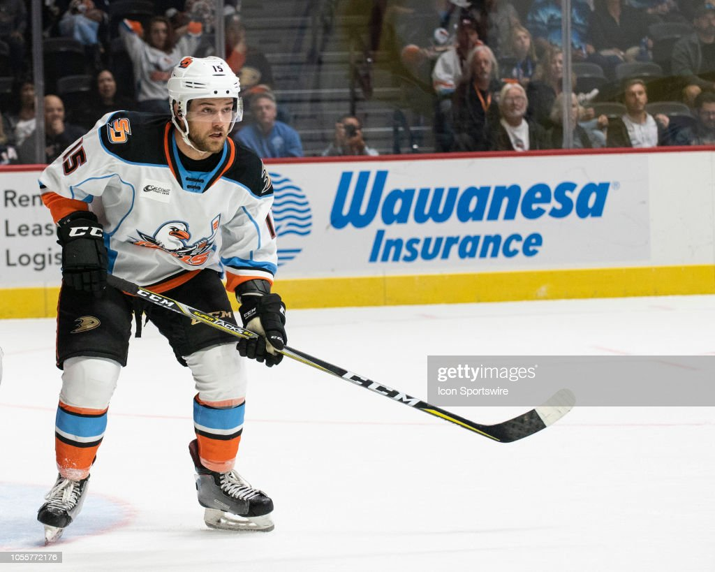 San Diego Gulls Chase De Leo during an AHL Hockey game between the