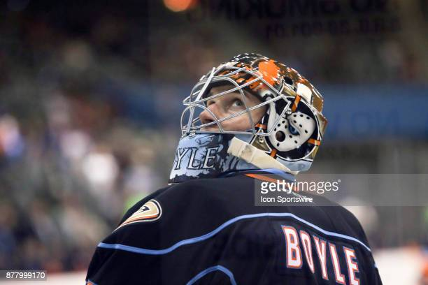 San Diego Gulls goalie Kevin Boyle during a hockey game between the San Diego Gulls and Tuscon Roadrunners on November 22 at Tucson Convention Center...
