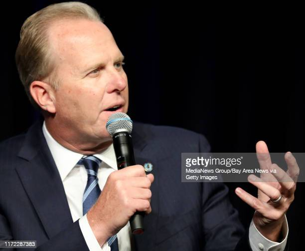 San Diego Mayor Kevin Faulconer speaks during a panel discussion at the Silicon Valley Leadership Group annual luncheon at the Santa Clara Convention...