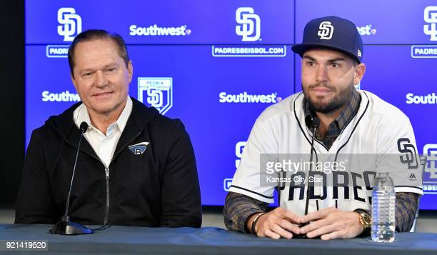 San Diego Padres' Eric Hosmer answers questions next to his agent Scott Boras during Hosmer's introducion on Tuesday Feb 20 2018 at a press...