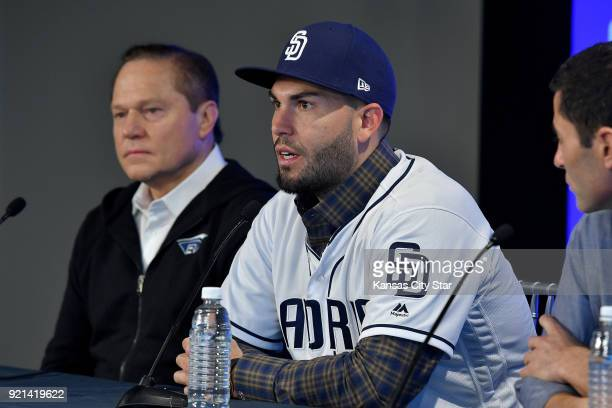 San Diego Padres' Eric Hosmer answers questions next to his agent Scott Boras during Hosmer's introduction on Tuesday Feb 20 2018 at a press...