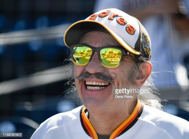 San Diego Padres fan looks on before a game between the San Diego Padres and the San Francisco Giants on Opening Day at Petco Park March 28, 2019 in...