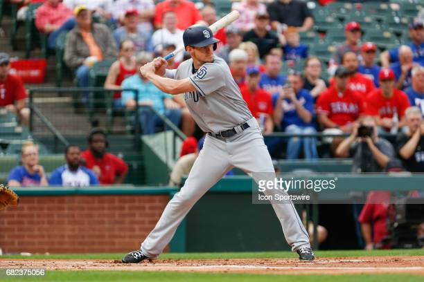 San Diego Padres First base Wil Myers bats during the MLB game between the San Diego Padres and Texas Rangers on May 10 2017 at Globe Life Park in...