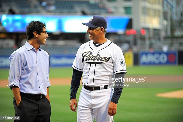 San Diego Padres general manager AJ Preller left talks with manager Bud Black before a baseball game against the Houston Astros at Petco Park April...