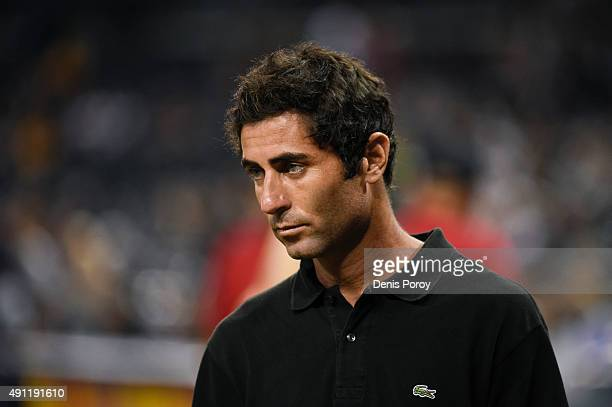 San Diego Padres general manager AJ Preller looks on before a baseball game against the Milwaukee Brewers at Petco Park September 30 2015 in San...