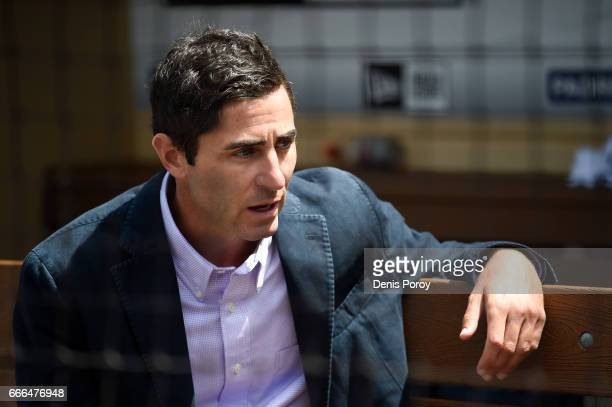 San Diego Padres general manager AJ Preller talks with reporters on opening day before a baseball game between the San Francisco Giants and the San...