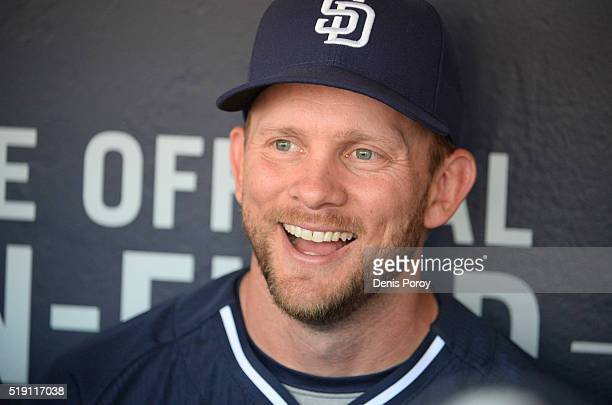 San Diego Padres manager Andy Green answers questions in the dugout during batting practice before a baseball game against the Los Angeles Dodgers on...