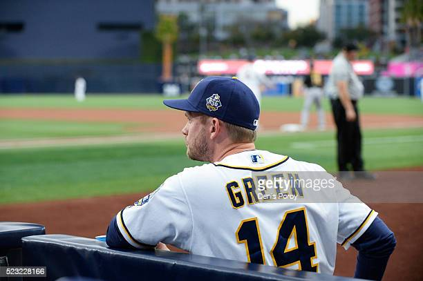 San Diego Padres manager Andy Green looks on before a baseball game against the Pittsburgh Pirates at PETCO Park on April 19 2016 in San Diego...