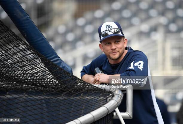 San Diego Padres manager Andy Green looks on before a baseball game against the Milwaukee Brewers at PETCO Park on March 30 2018 in San Diego...