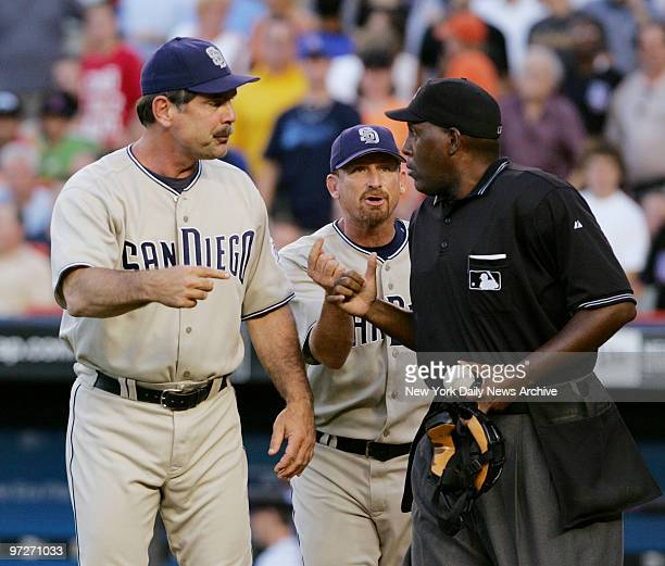 San Diego Padres' manager Bruce Bochy argues with home plate umpire Chuck Meriwether during a game against the New York Mets at Shea Stadium The Mets...