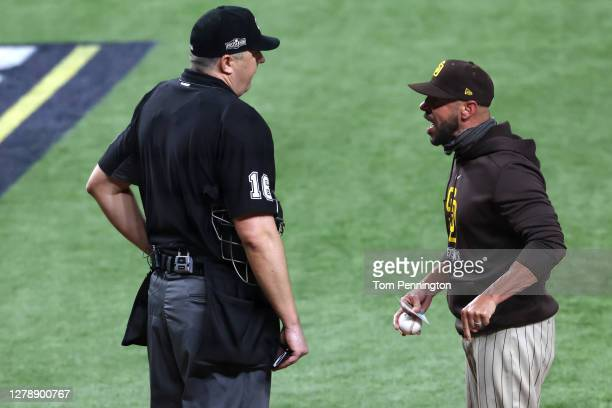 San Diego Padres Manager Jayce Tingler disputes a call with umpire Mike DiMuro and is ejected from Game One of the National League Division Series...