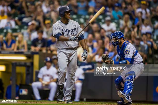 San Diego Padres Outfield Franchy Cordero swings the bat in frustration after striking out durning an MLB game between the San Diego Padres and the...