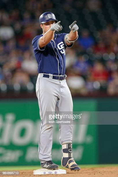 San Diego Padres Outfield Hunter Renfroe drives in the go ahead RBI with a double during the 8th inning of the game between the San Diego Padres and...