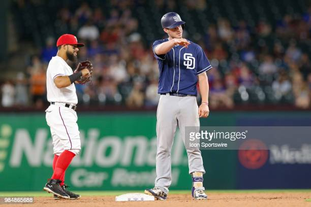 San Diego Padres Outfield Wil Myers doubles in a run during the 8th inning of the game between the San Diego Padres and Texas Rangers on June 26 2018...