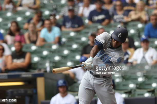 San Diego Padres outfielder Franchy Cordero hits during a game between the Milwaukee Brewers and the San Diego Padres on June 18th 2017 at Miller...