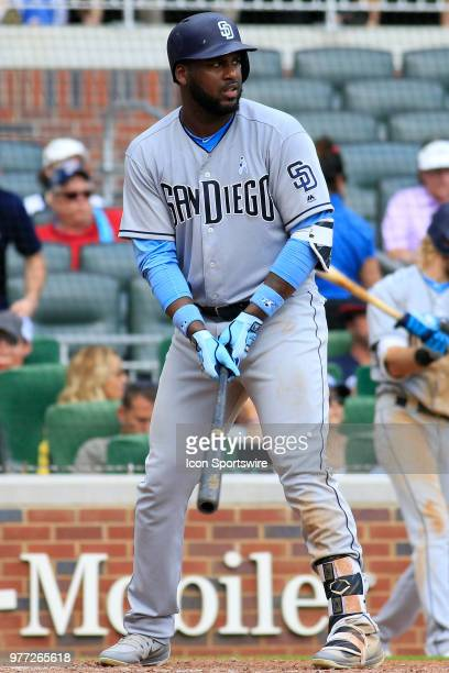 San Diego Padres Outfielder Franmil Reyes during the Father's Day MLB game between the Atlanta Braves and the San Diego Padres on June 17 at SunTrust...