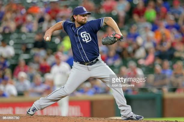 San Diego Padres Pitcher Brad Hand comes on in relief during the game between the San Diego Padres and Texas Rangers on June 26 2018 at Globe Life...