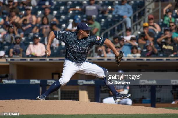 San Diego Padres Pitcher Colten Brewer delivers a pitch during a MLB game between the Pittsburgh Pirates and the San Diego Padres on July 01 at Petco...