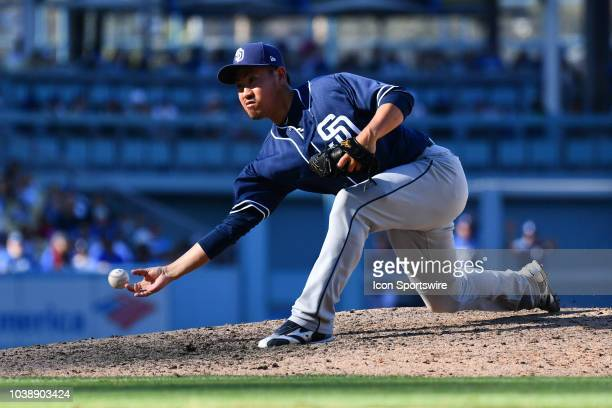 San Diego Padres pitcher Kazuhisa Makita throws a pitch during a MLB game between the San Diego Padres and the Los Angeles Dodgers on September 23...