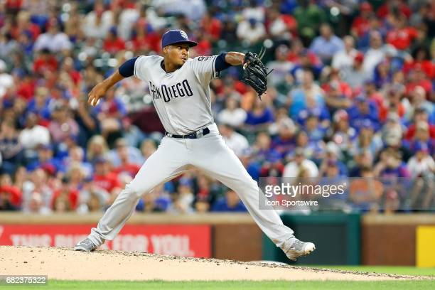 San Diego Padres Pitcher Luis Perdomo pitches during the MLB game between the San Diego Padres and Texas Rangers on May 10 2017 at Globe Life Park in...