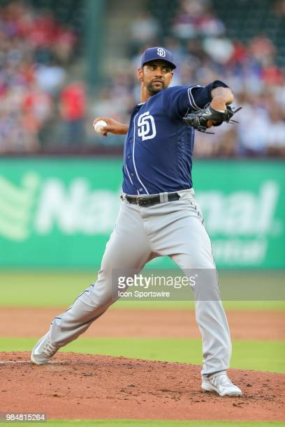 San Diego Padres Pitcher Tyson Ross throws a pitch during the game between the San Diego Padres and Texas Rangers on June 26 2018 at Globe Life Park...