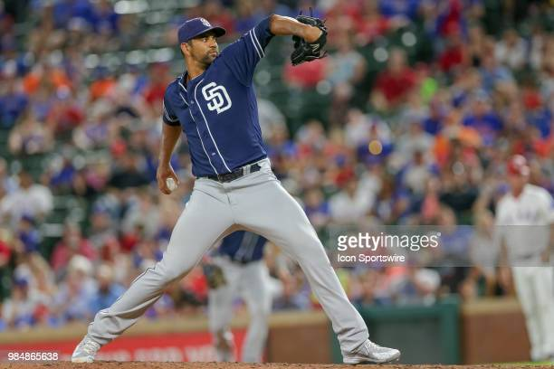 San Diego Padres Pitcher Tyson Ross throws during the game between the San Diego Padres and Texas Rangers on June 26 2018 at Globe Life Park in...