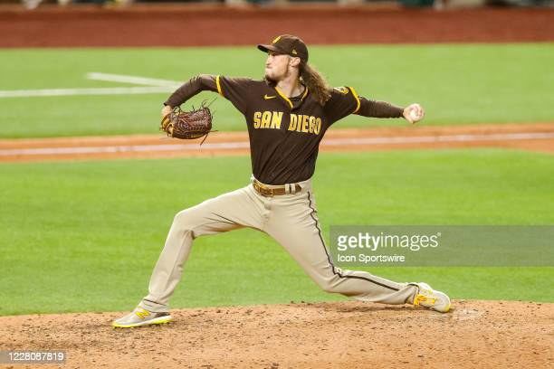 San Diego Padres relief pitcher Matt Strahm comes in to pitch during the MLB game between the San Diego Padres and Texas Rangers on August 17, 2020...