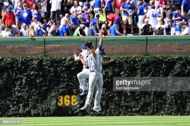 San Diego Padres right fielder Hunter Renfroe San Diego Padres left fielder Matt Szczur and San Diego Padres center fielder Franchy Cordero celebrate...
