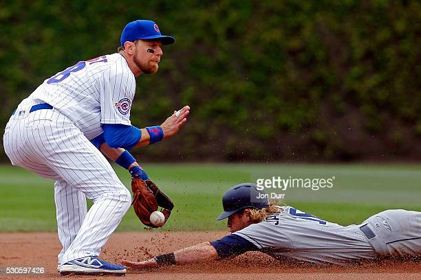 San Diego Padres right fielder Travis Jankowski steals second base as Chicago Cubs second baseman Ben Zobrist is unable to catch the throw during the...