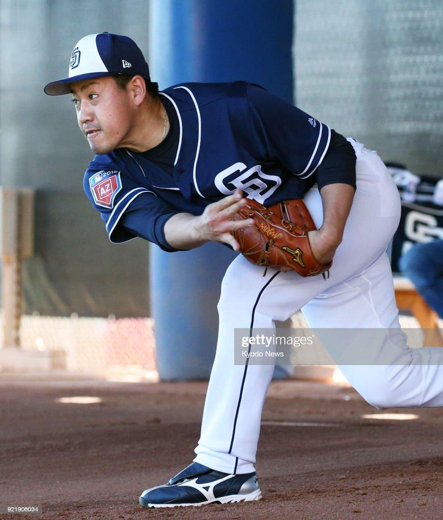 San Diego Padres rookie Kazuhisa Makita throws in the bullpen at the team's spring training site in Peoria, Arizona, on Feb. 20, 2018. ==Kyodo