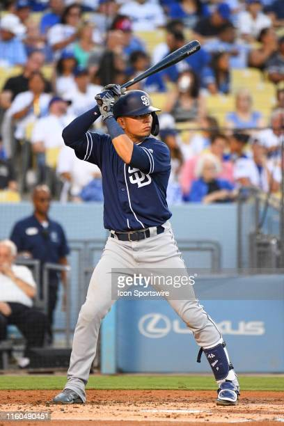 San Diego Padres second baseman Luis Urias at bat during a MLB game between the San Diego Padres and the Los Angeles Dodgers on August 1 2019 at...