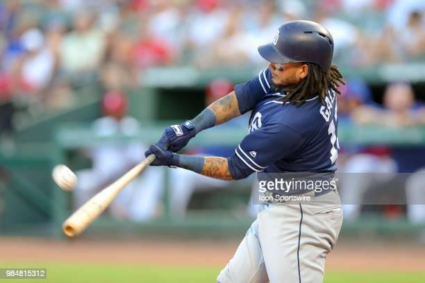 San Diego Padres Shortstop Freddy Galvis bats during the game between the San Diego Padres and Texas Rangers on June 26 2018 at Globe Life Park in...