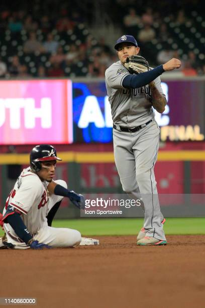 San Diego Padres Third baseman Manny Machado completes the double play during the MLB game between the Atlanta Braves and the San Diego Padres on May...