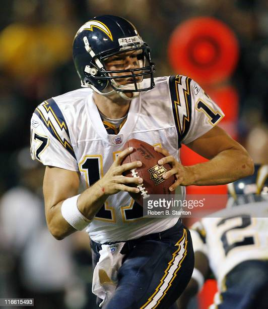 San Diego quarterback Philip Rivers in action as the San Diego Chargers defeated the Oakland Raiders by a score of 27 to 0 at McAfee Coliseum Oakland...