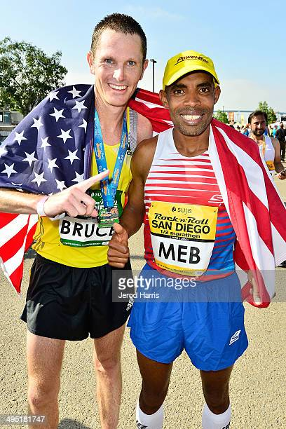 San Diego Rock 'n' Roll Marathon winner Ben Bruce and Boston Marathon winner Meb Keflezighi participate in the Suja Rock 'n' Roll San Diego Marathon...