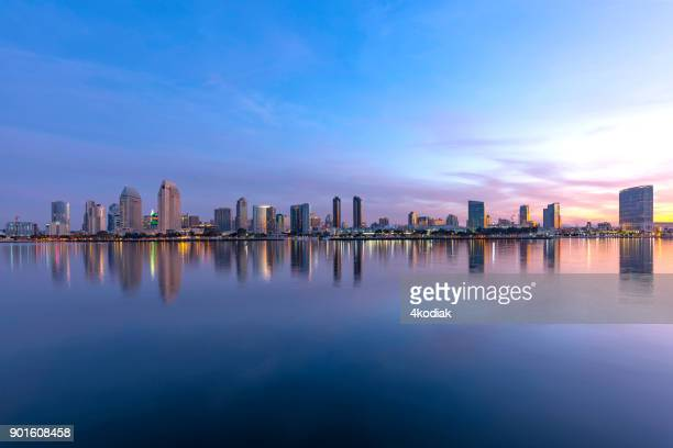 san diego skyline at dawn - san diego stock pictures, royalty-free photos & images