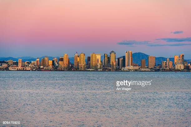san diego skyline at dusk - san diego stock pictures, royalty-free photos & images