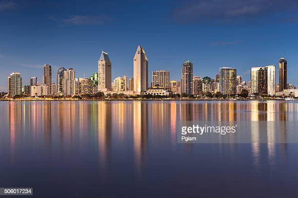 san diego skyline at night - san diego stock pictures, royalty-free photos & images