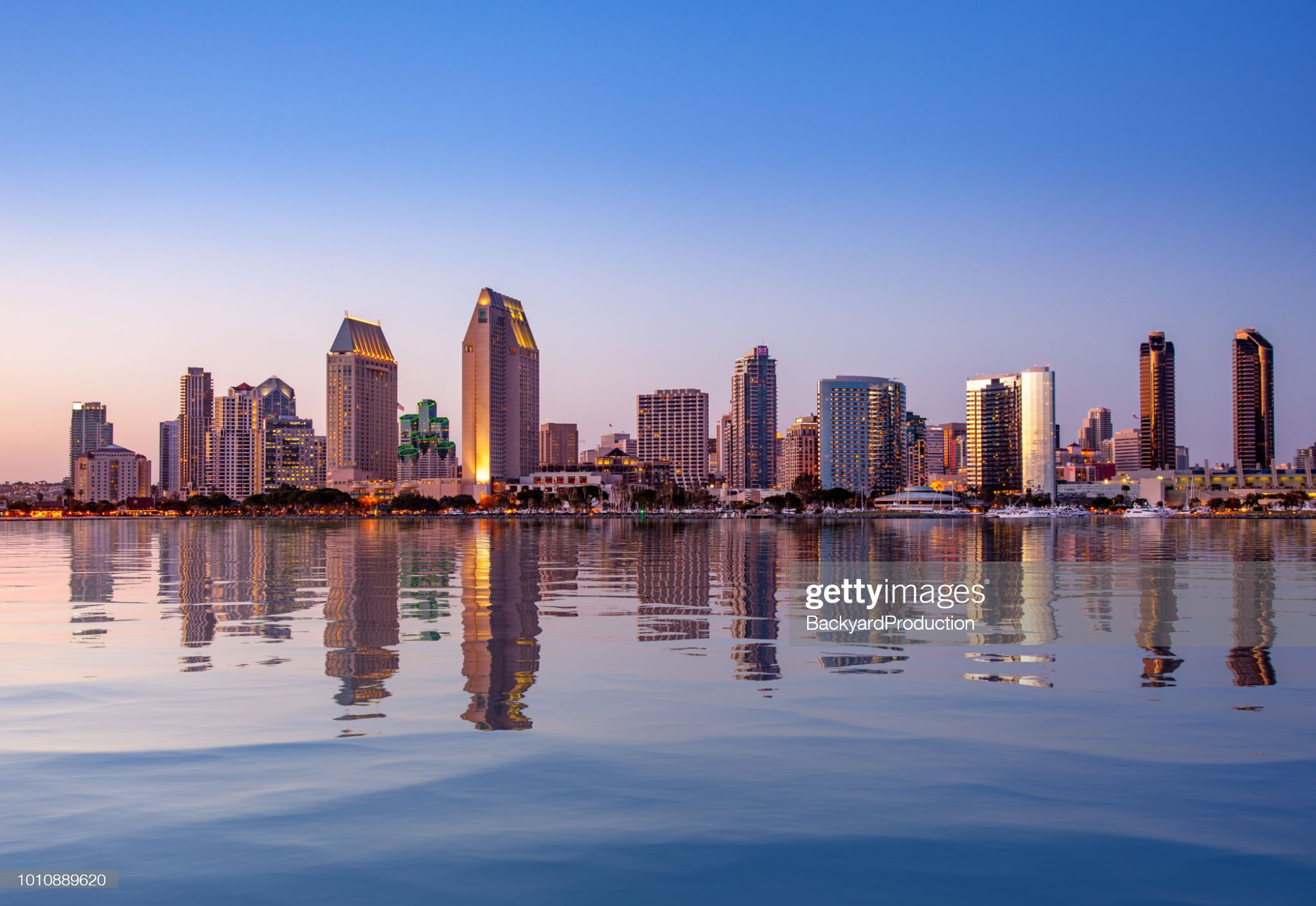 San Diego skyline with artificial water reflection