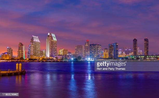 san diego skyline with marina harbor, ca (p) - san diego stock pictures, royalty-free photos & images